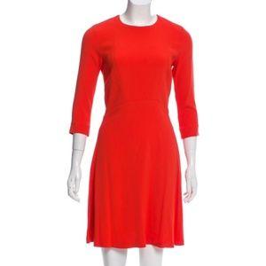 Sandro Paris long sleeve keyhole back red dress